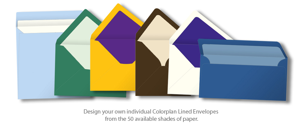 Design your own individual Colorplan Lined Envelopes from the 50 available shades of paper.