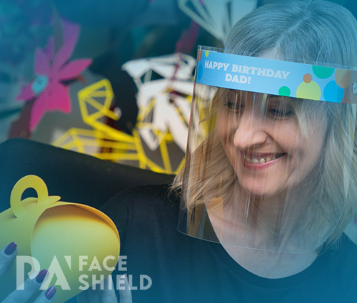 An image of 'Happy Birthday Dad' Protective Face Shield
