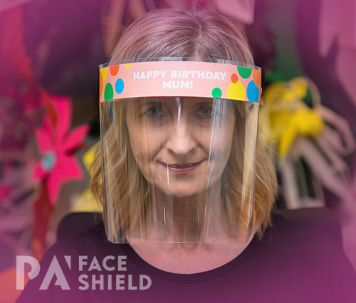An image of 'Happy Birthday Mum' Protective Face Shield