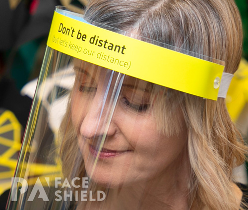 An image of 'Don't be Distant'                           Protective Face Shield